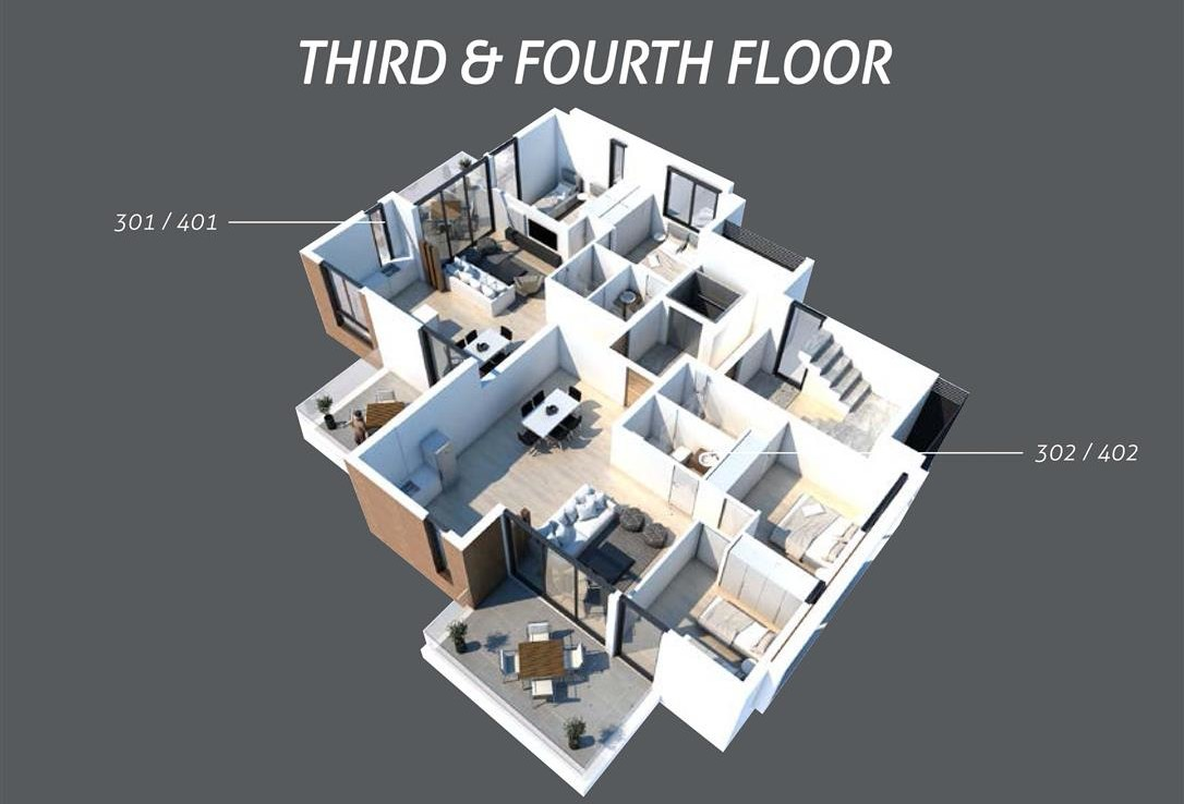 План третьего и четвертого этажа