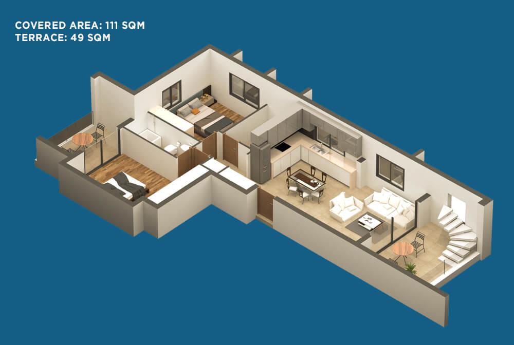 План трехкомнатной квартиры в Ларнаке