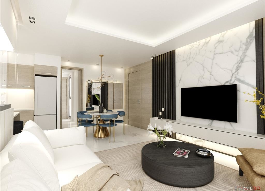 Гостиная в новом комплексе квартир